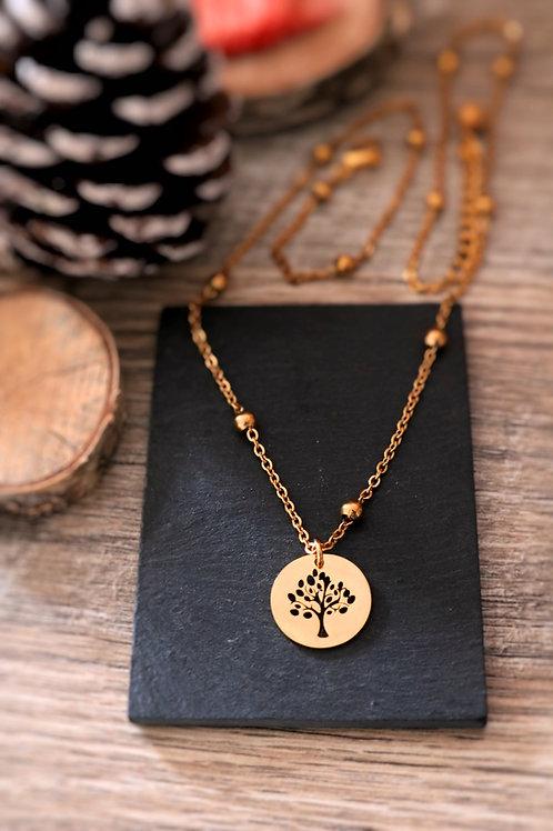 Copie de Collier en acier inoxydable doré médaillon arbre, réglable fait main