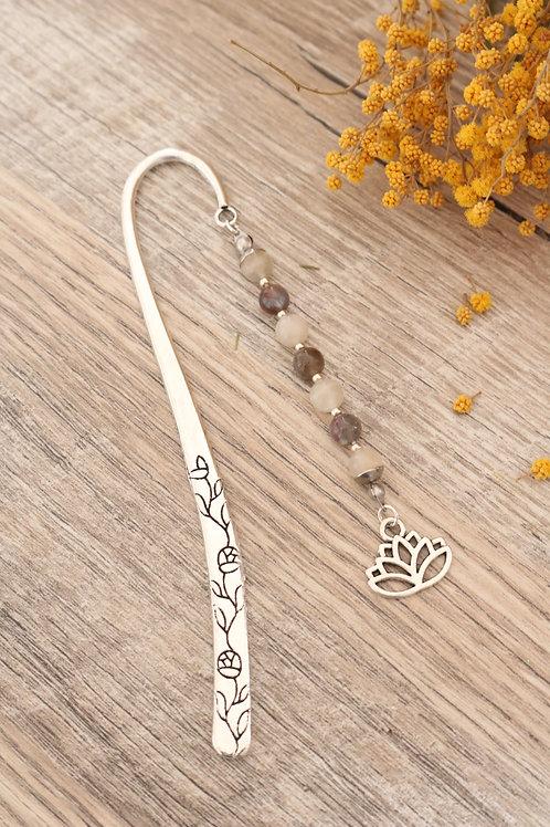 Marque page Labradorite et Pierre de Lune pierres naturelles fait main lotus