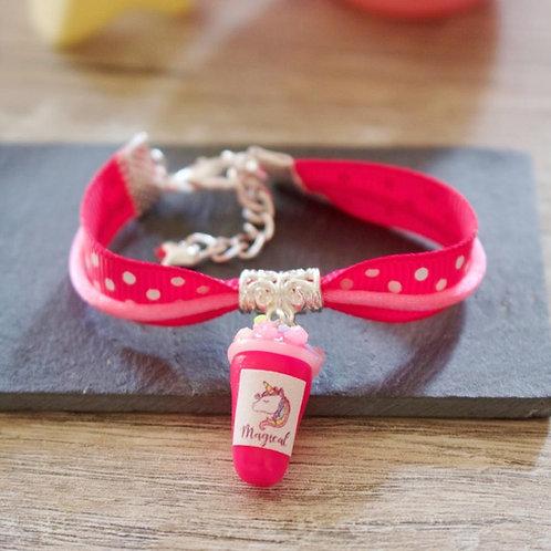 Bracelet enfant rose smoothie licorne pailleté en fimo fait main
