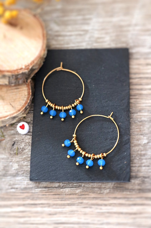 Créoles  boucles Perlita acier inoxydable doré et perles bleues