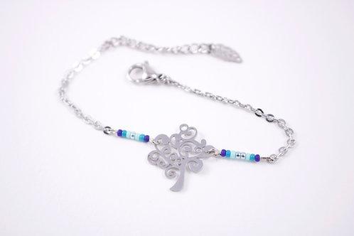 Bracelet acier réglable arbre acier inoxydable bleu bohème miyuki