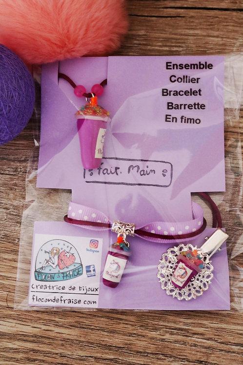 Parrure smoothie licorne violet en fimo collier bracelet barrette artisanal