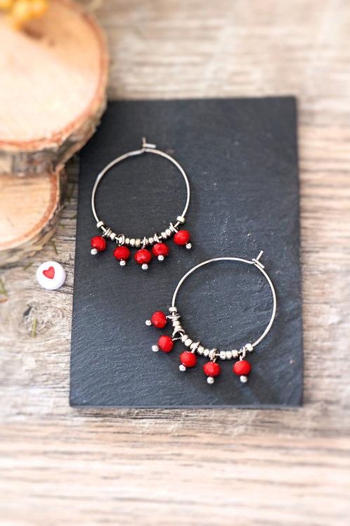Créoles  boucles Perlita acier inoxydable argenté et perles rouges