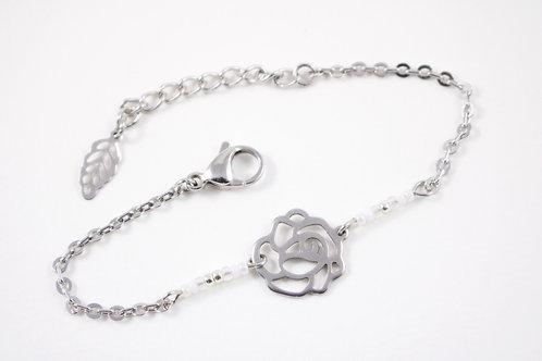 Bracelet acier fleur blanc réglable inoxydable bohème miyuki