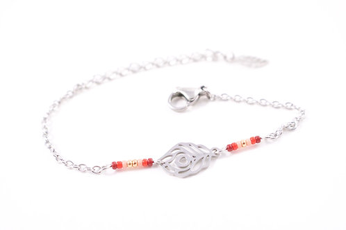 Bracelet acier plume de paon rouge réglable inoxydable bohème miyuki