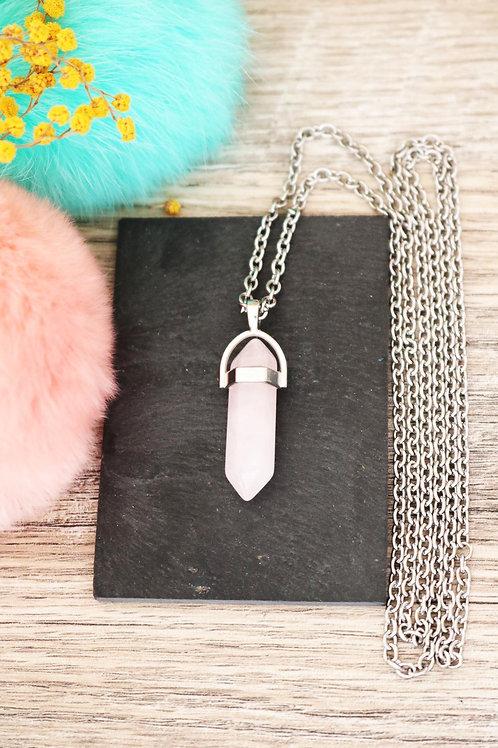 Sautoir Quartz rose pierre naturelle collier long chaine acier inoxydable