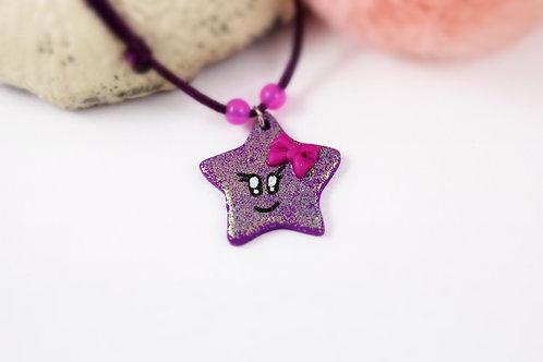 Collier enfant étoile pailletée violette fimo artisanal fille kawaii