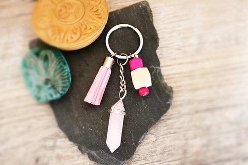 Porte clés Quartz Rose naturelle confiance en soi artisanal