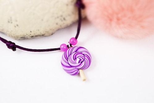 Collier enfant sucette lollipop violette fimo artisanal fille gourmande su