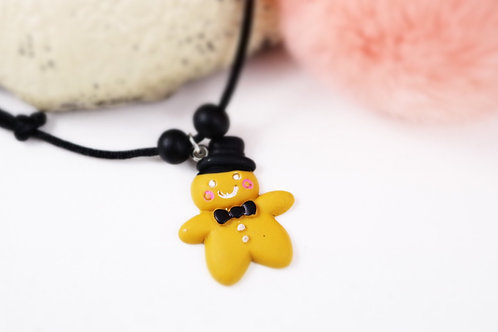 Collier enfant Mr pain d'épice fimo artisanal gourmand