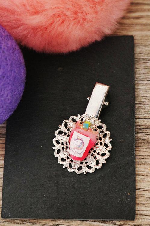 Barrette smoothie licorne pailleté rose fluo fimo artisanale pince