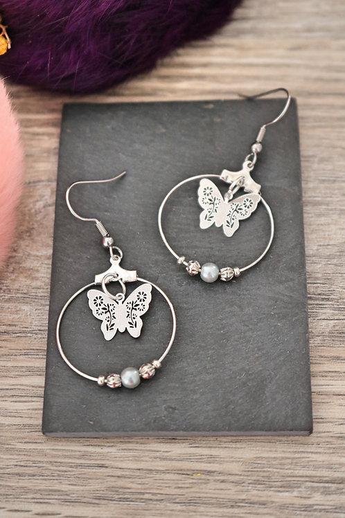 Boucles d'oreilles créoles papillons filigranes argentés attaches acier inox