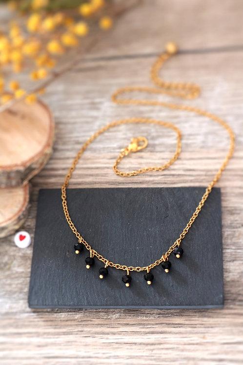 Collier tour de cou Perlita acier inoxydable doré et perles noires