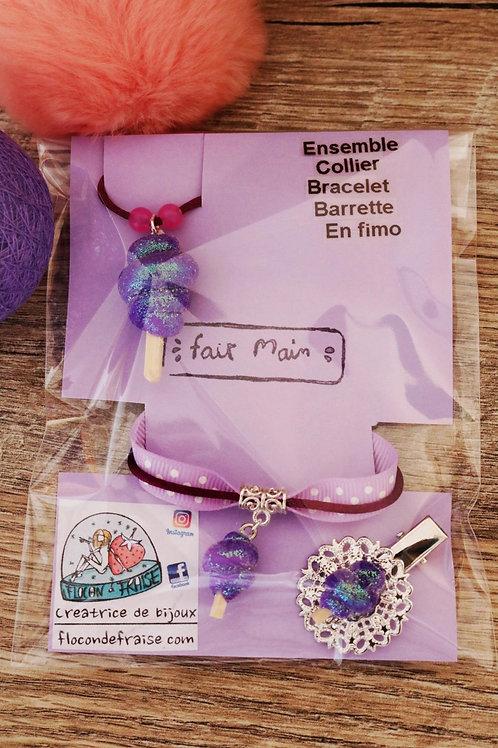 Parrure barbe à papa violet pailleté en fimo collier bracelet barrette artisanal