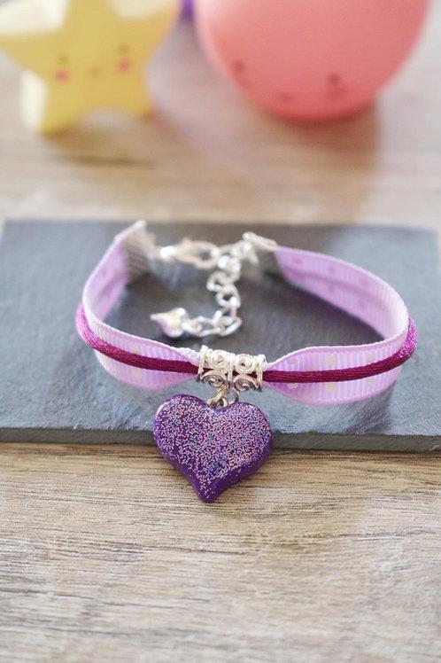 Bracelet enfant violet coeur pailletée en fimo fait main