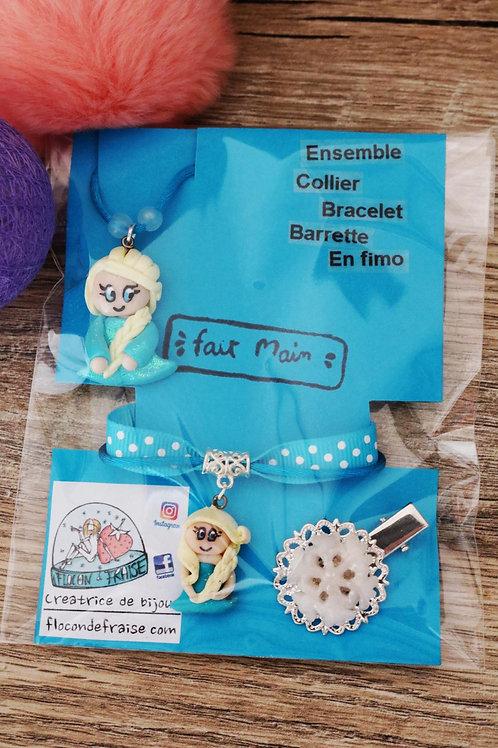 Parure princesse reine des neiges en fimo collier bracelet barrette artisanal