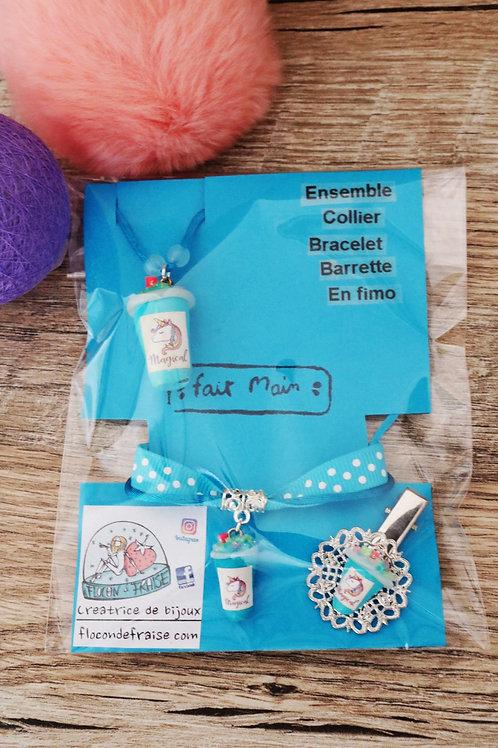 Parrure smoothie licorne bleu en fimo collier bracelet barrette artisanal
