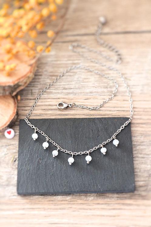 Collier tour de cou Perlita acier inoxydable argenté et perles blanches