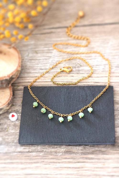 Collier tour de cou Perlita acier inoxydable doré et perles vert pastel