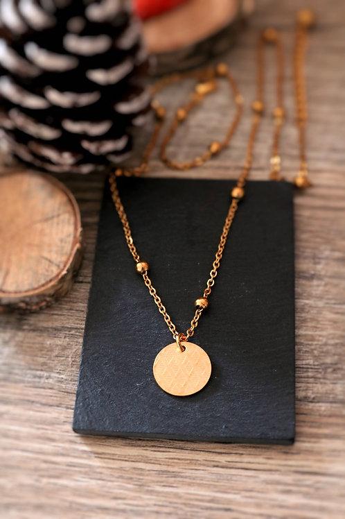 Collier en acier inoxydable doré médaillon losanges, réglable fait main