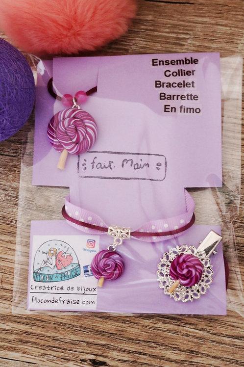 Parrure lolipop sucette violette en fimo collier bracelet barrette artisanal