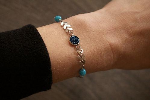 Bracelet Gypsy acier inoxydable bleu réglable fait main