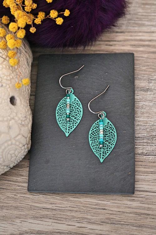 Petites boucles d'oreilles feuilles filigranes vert d'eau artisanales légères