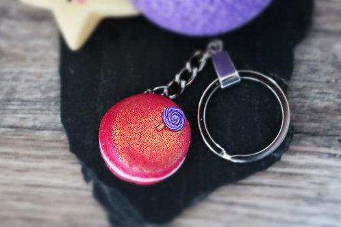 Porte clés macaron rose pailleté fimo artisanal bijou gateau