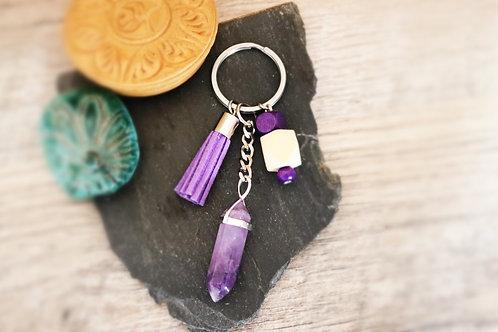 Porte clés Améthyste naturelle anti-stress artisanal