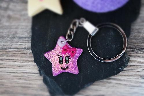 Porte clés Etoile violette pailletée fimo artisanal