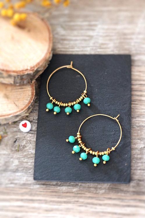 Créoles  boucles Perlita acier inoxydable doré et perles vert d'eau
