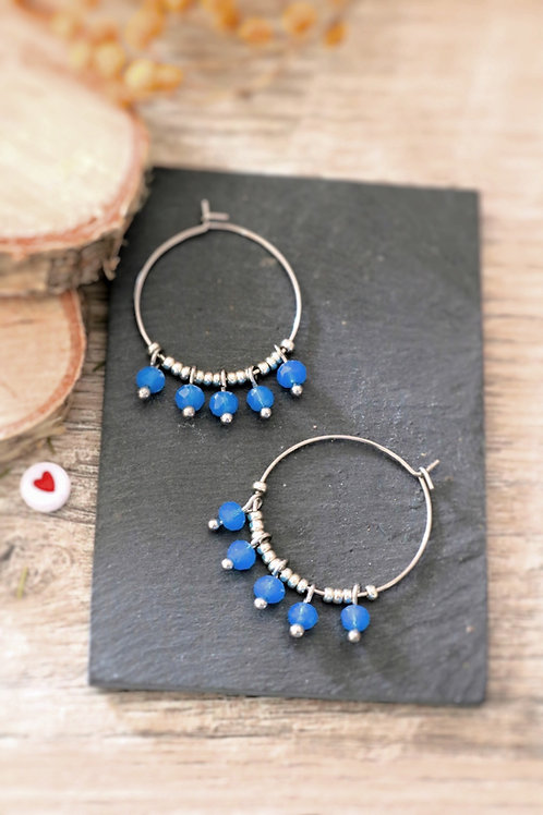 Créoles  boucles Perlita acier inoxydable argenté et perles bleues
