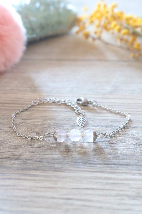 Bracelet Jali Quartz rose acier inoxydable artisanal pierres naturelles