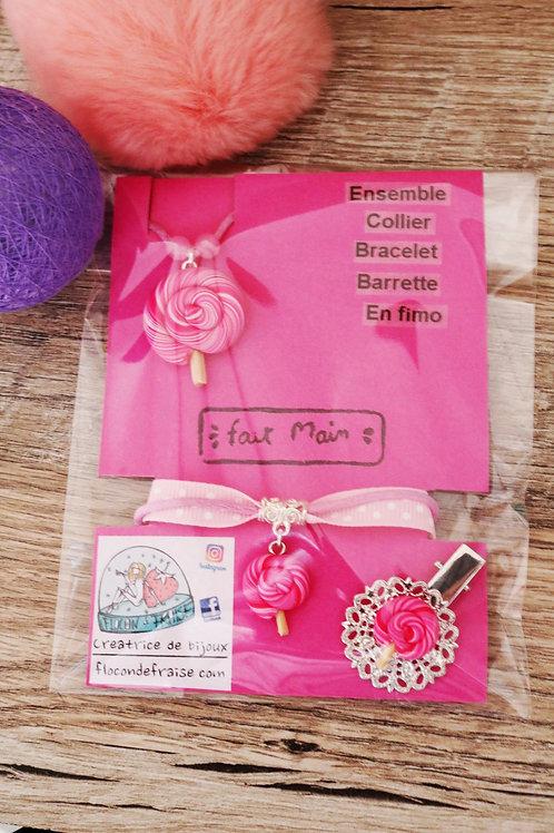 Parrure lolipop sucette rose en fimo collier bracelet barrette artisanal