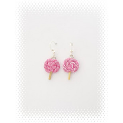 Boucles bonbon lollipop à la framboise rose fimo attache en acier inoxydable