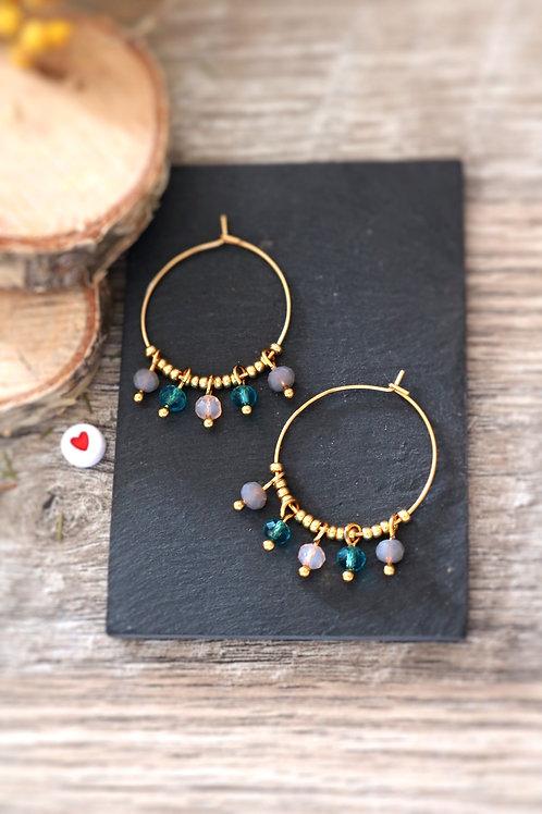 Créoles  boucles Perlita acier inoxydable doré et perles grises, roses et bleues