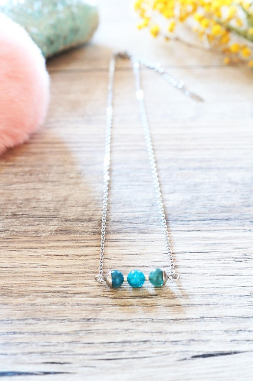 Collier Jali Apatite acier inoxydable artisanal pierres naturelle