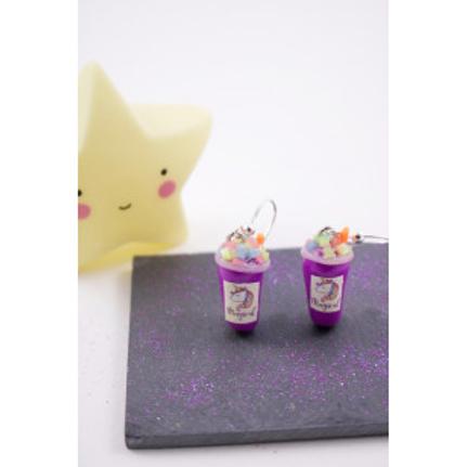 Boucles smoothies licorne violet en fimo attache en acier inoxydable