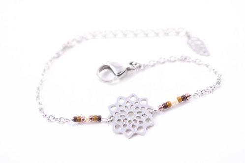 Bracelet acier fleur mandala marron réglable inoxydable bohème miyuki