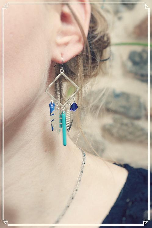 Boucles d'oreilles Talys bleu et argenté pendantes fait main