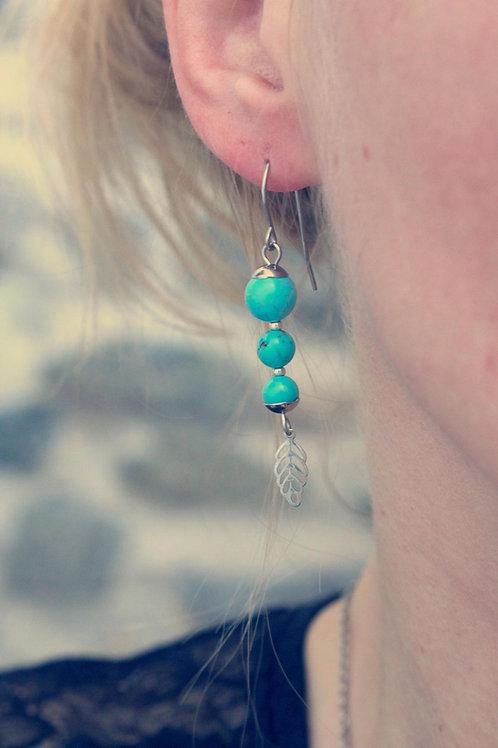 Boucles pendantes Jali Turquoise acier inoxydable fait main pierres naturelles