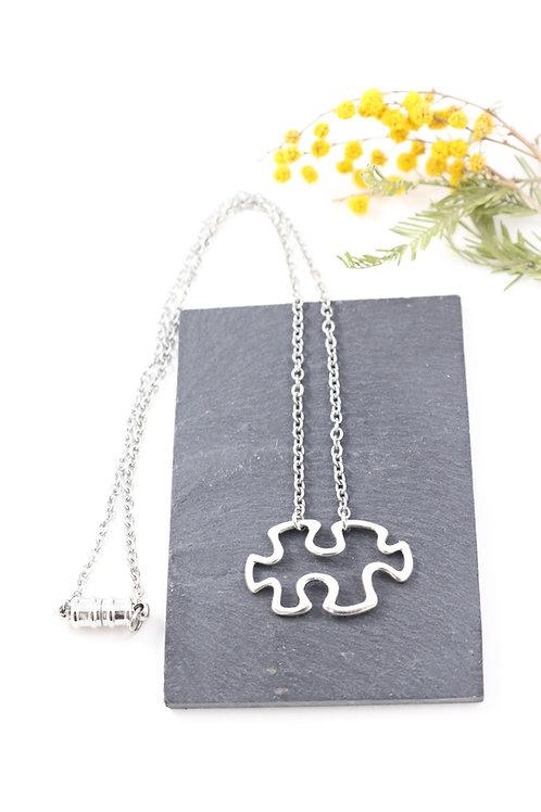 Collier aimanté puzzle chaine acier inoxydable fait main