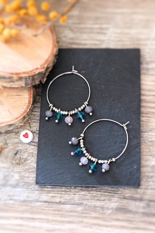 Créoles  boucles Perlita acier inoxydable argenté et perles grises, roses