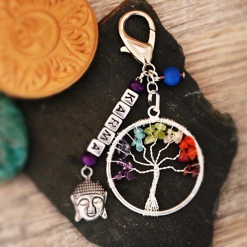 Porte clés arbre chakra pierres naturelles Karma artisanal