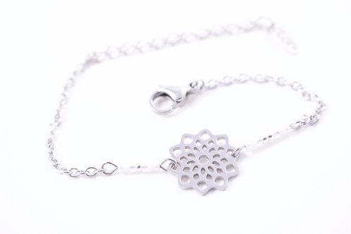 Bracelet acier fleur mandala blanc réglable inoxydable bohème miyuki