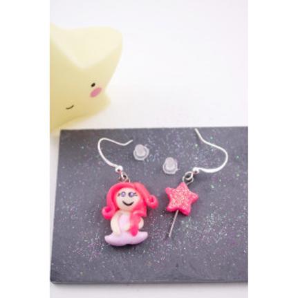 Boucles princesse rose fluo et sa baguette magique en fimo attache en acier inox