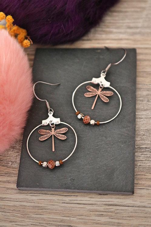 Boucles d'oreilles créoles libellule filigranes marrons attache acier inoxydable