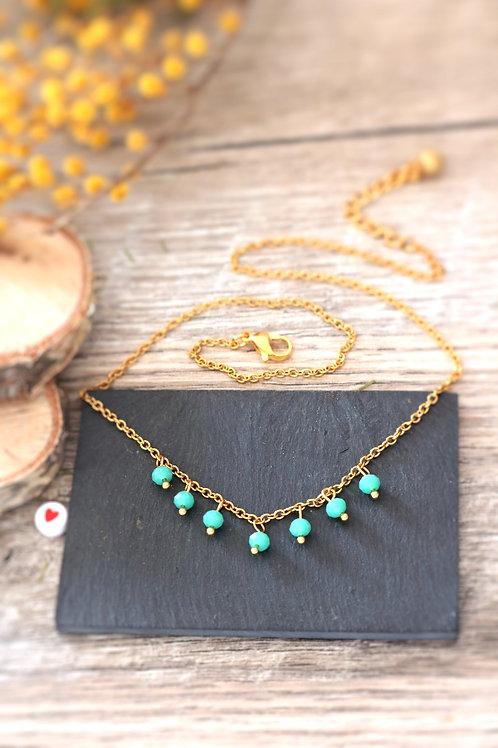 Collier tour de cou Perlita acier inoxydable doré et perles vert d'eau