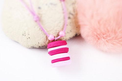 Collier enfant duo macarons rose fimo artisanal bijou gateau
