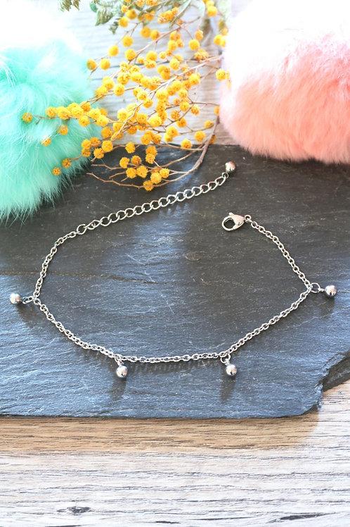 Bracelet/ chaine de cheville en acier inoxydable boules réglable artisanal